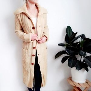 Vintage Long Wool Canle Knit Cardigan Duster Robe